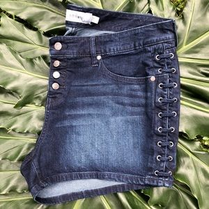 TORRID Dark Wash Laced Sides Jean Shorts